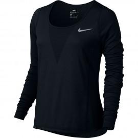 Nike T-shirt Ml Run Cl Relay Black Donna