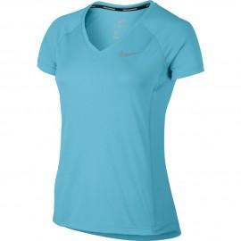 Nike T-shirt Mm Run Dry Miler Vivid Sky/Vivid Sky Donna