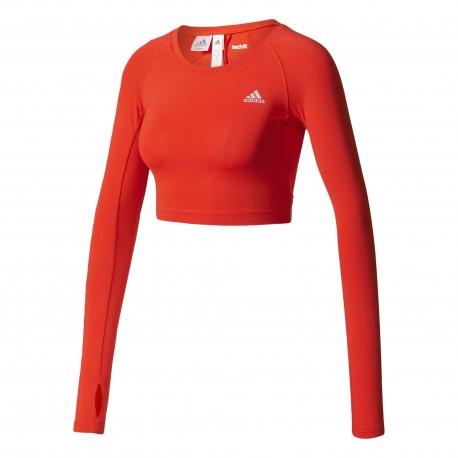 Adidas Crop Top Donna Rosso