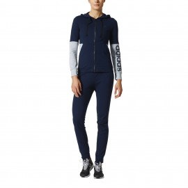 Adidas Tuta Donna Ft Cap/Zip Polsini Blu