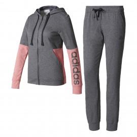 Adidas Tuta Donna Ft Cap/Zip Polsini Grigio