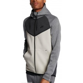Nike Felpa Zip E Capp Tch Flc Bianco/Grigio