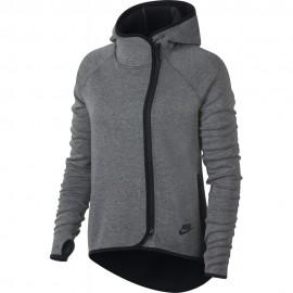 Nike Felpa Full Zip C/Cappuccio Donna Tch Flc Grigio