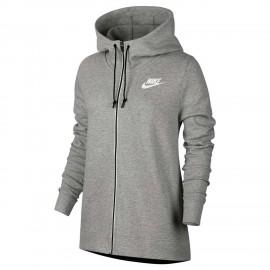 Nike Felpa Donna Full Zip C/Capp Grigio