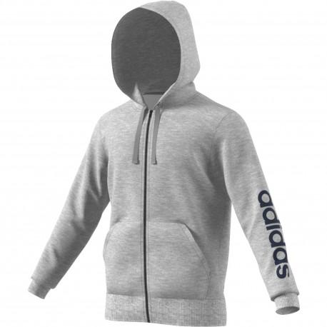 Adidas Felpa FT Cap/Zip Ess Line Grigio