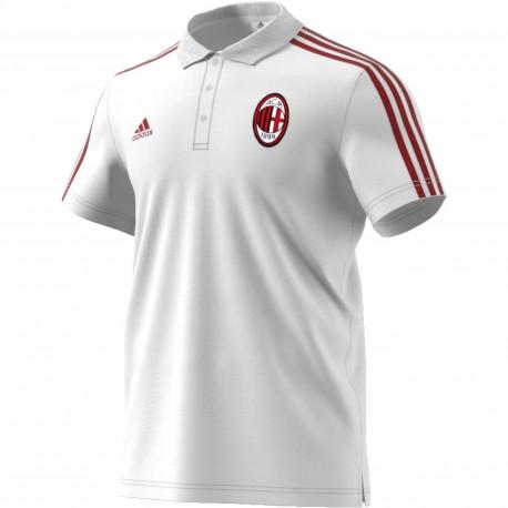 Adidas Polo AC Milan 3 Stripes White/Red