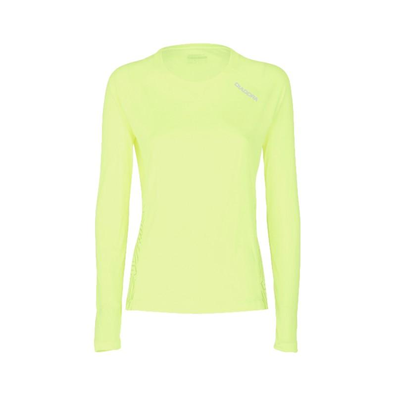 Diadora T shirt ML Run L.X. Giallo Fluo