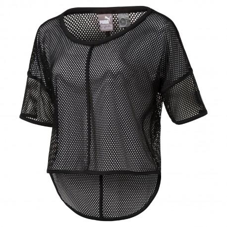Puma T-Shirt Rete  Giro Donna Nero