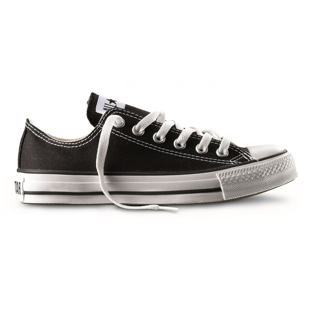 Converse All Star Ox Canvas moda nero nero bianco e nero 18 UK