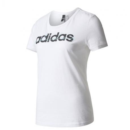 Adidas T-Shirt Donna Mm Linear Scritta Bianco