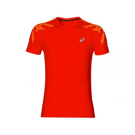 Asics T-shirt Mm Run Stripe Fiery Red