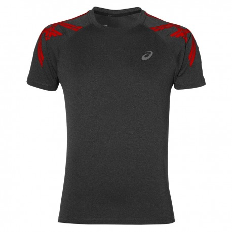 Asics T-shirt Mm Run Stripe Dark Grey