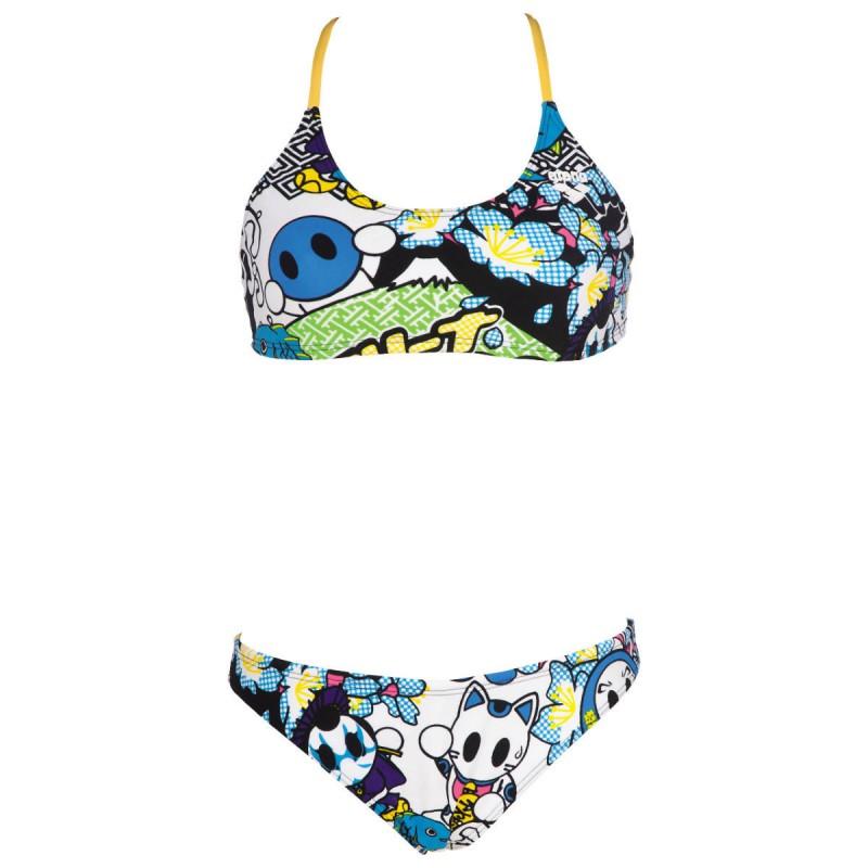 Arena due pezzi manga donna white multicolor 2a66810 - Costumi piscina due pezzi ...