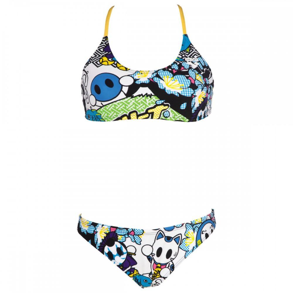 Arena due pezzi manga donna white multicolor 2a66810 for Costumi due pezzi piscina