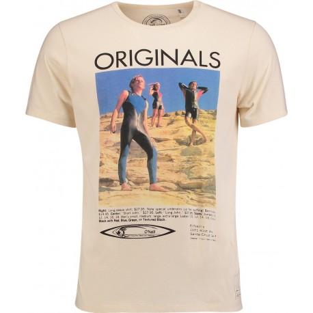O'neill T-Shirt Stampa Foto Crema
