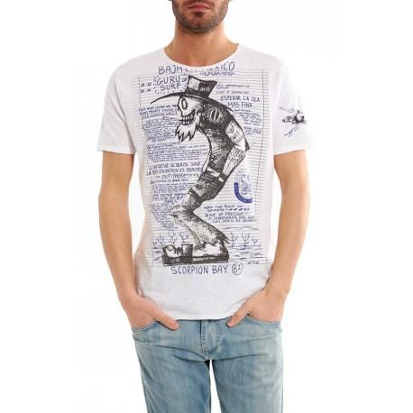 Scorpion Bay T-Shirt Stampa Quanderno Bianco