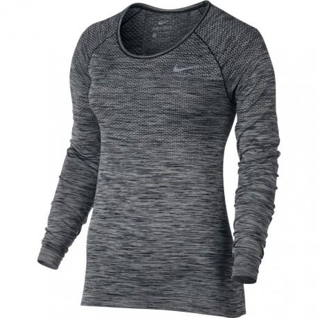Nike T-Shirt Donna  Ml Rn Df Knit (36) Black/Htr