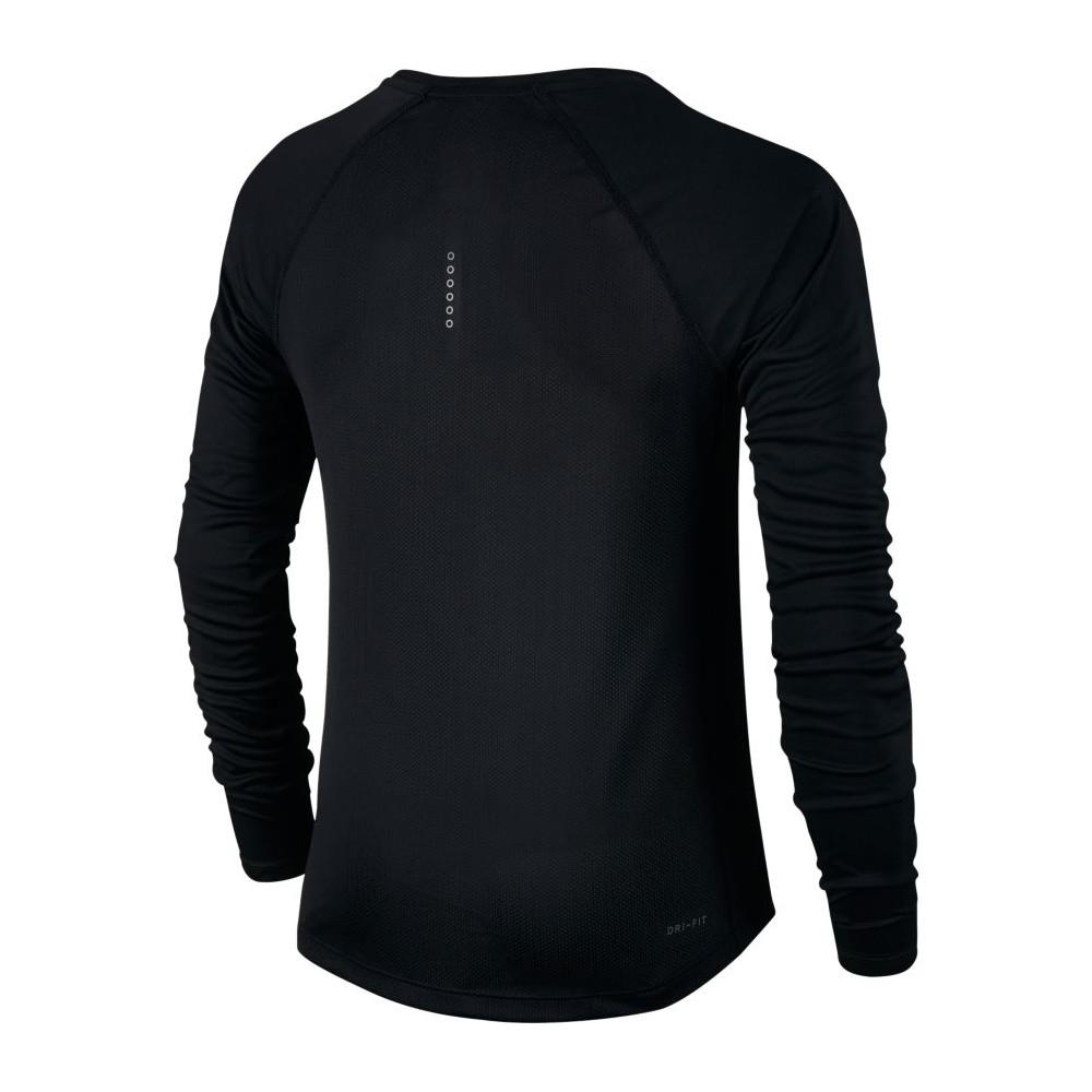 Nike T Shirt Donna Ml Rn Dry Miler Black 831540 010