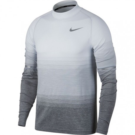 Nike T-Shirt Ml Run Df Knit Mock Grd    Pure Olatinum/Wolf Gr