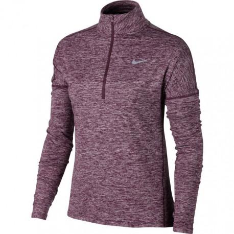 Nike T-Shirt Donna  Ml Run Dry Elmnt Hz Port Wine