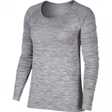 Nike T-Shirt Donna  Ml Run Df Knit    Cool Grey