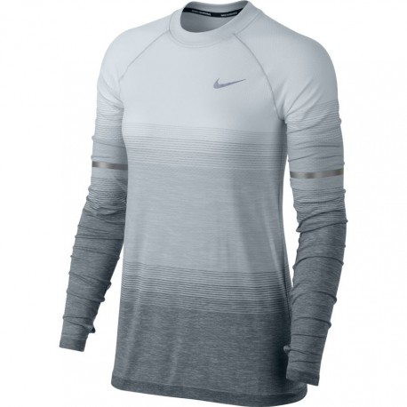 Nike T-Shirt Donna  Ml Run Df Knit Ls Nv Pure Platinum/Wolf Grey