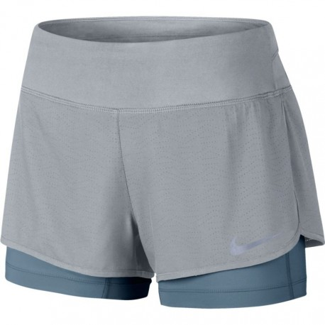 Nike 2in1 Short Donna  Run Flx Rival    Wolf Grey/Armory Blue