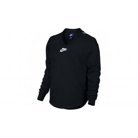 Nike Felpa Scollo V Swsh Donna Nero