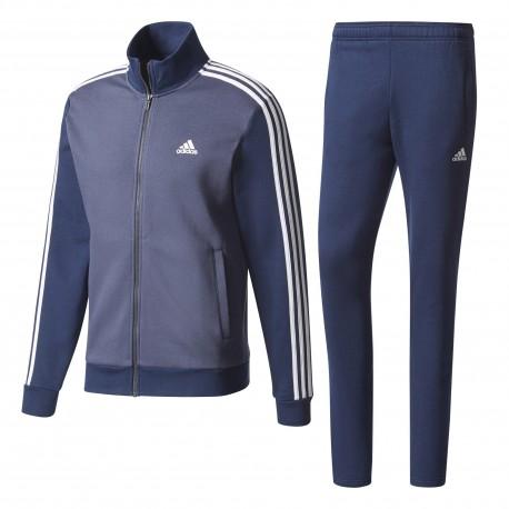 Adidas Tuta Full Zip Senza Cappuccio Blu