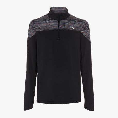 Diadora T-Shirt Ml Run Half Zip Warm Up Win Nero