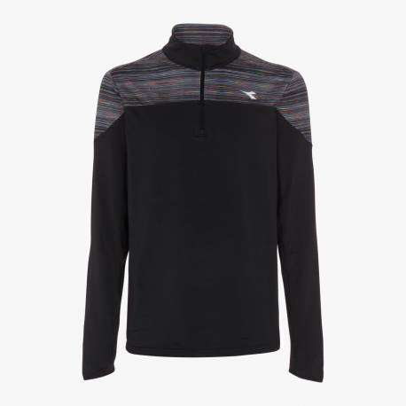 Diadora T-Shirt Ml Run Half Zip Warm Up Win Nero