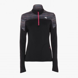 Diadora T-Shirt Ml Run Donna Half Zip Warm Up Win Nero