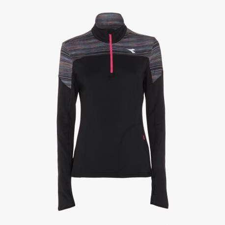Diadora T-Shirt Ml Run Donna Half Zip Warm Up Win Nero