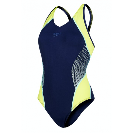 Speedo Costume W Mscl Fit Splice Navy/Lime