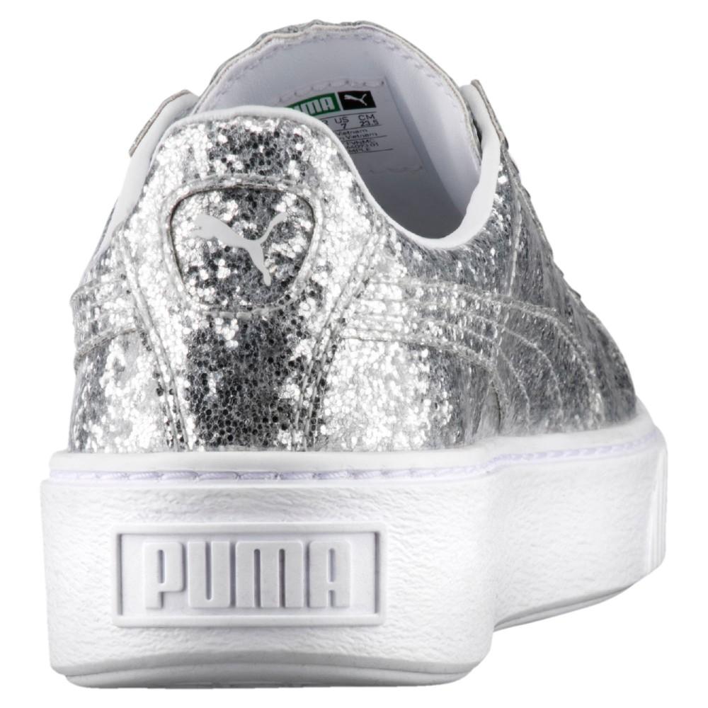 50c7ff43ed Puma Scarpa Donna Basket Platform Glitter Silver/Silver 364093-01 ...
