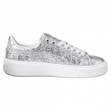 Puma Scarpa Donna Basket Platform Glitter Silver/Silver