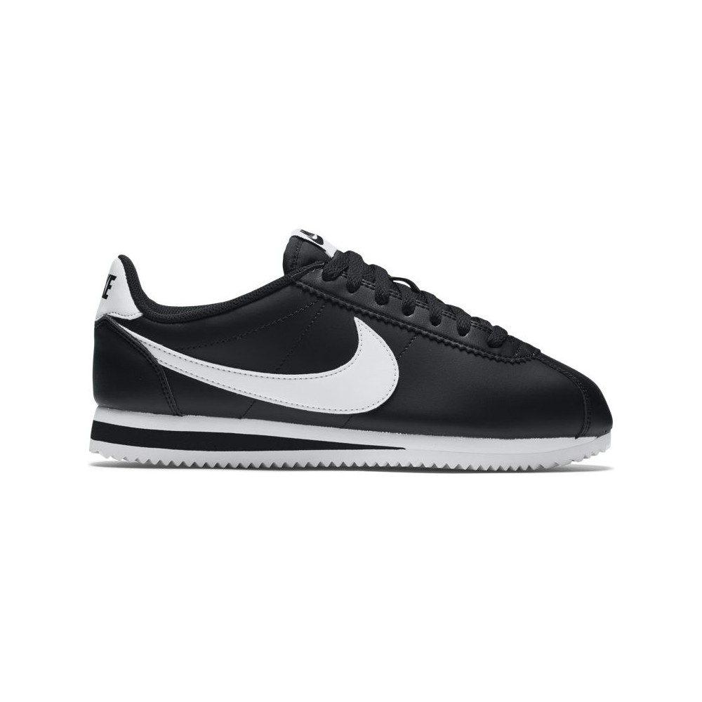 Cortez Classic Nero Leather Bianco Nike Donna cC1Bza