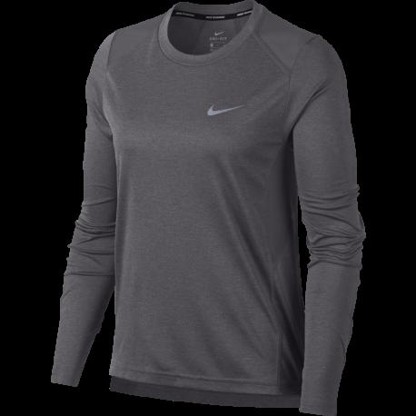 Nike T-Shirt Donna Ml Rn Dry Miler Gunsmoke