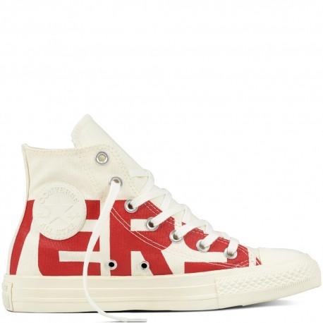 Converse Canvas  Wordmark Hi Bianco/Rosso
