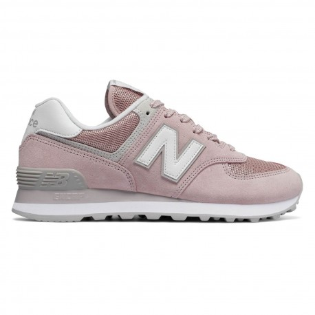 New Balance Donna 574 Suede/Mesh Rosa/Bianco