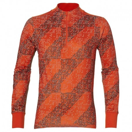Asics T-Shirt Ml Rn Lite-Show 1/2 Zip Performance Red Clay