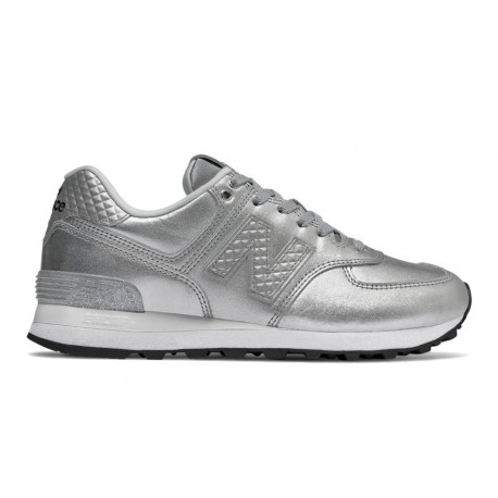 New Balance Donna 574 Lea Silver Metallic