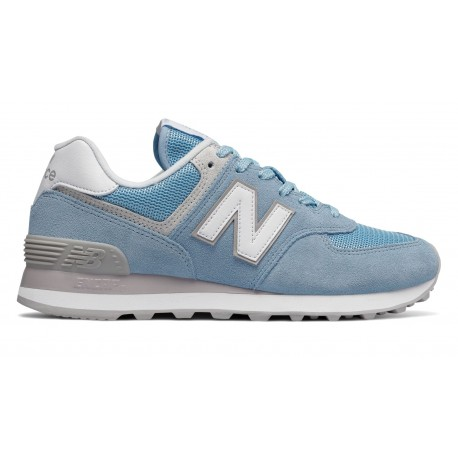 New Balance Donna 574 Suede/Mesh Azzurro/Bianco ...
