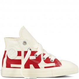 Converse Bambino Canvas Wordmark Hi Bianco/Rosso