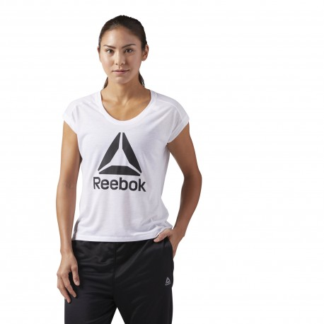 Reebok T-Shirt Donna Giro Logo Train Bianco