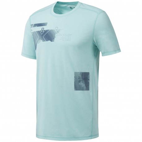 Reebok T-Shirt Cross Burnout Azzurro