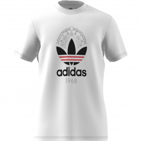 Adidas Originals T-Shirt U Logo Trefoil Or  Bianco
