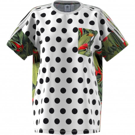 Adidas Originals T-Shirt Donna Mm Pois Or  Bianco
