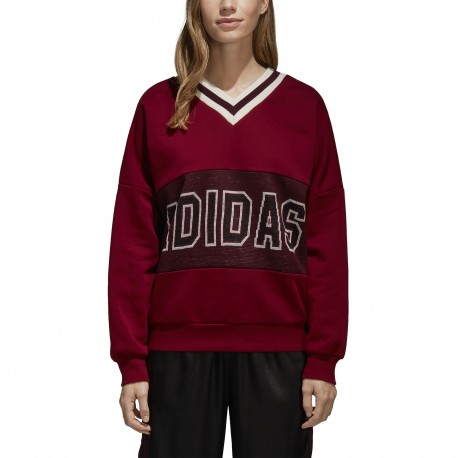 Adidas Originals Felpa Donna Scollo V Over Bordeaux