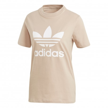 Adidas Originals T-Shirt Donna Mm Logo Or Rosa